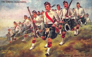 The Gordon Highlanders Swarming Down The Hill Harry Payne Tuck Postcard