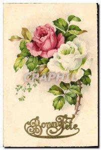 Old Postcard Bonne Fete Flowers