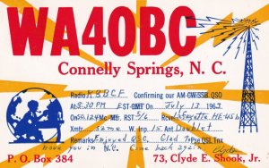 QSL RADIO POSTCAR, CONNELLY SPRINGS, North Carolina, PU-1963
