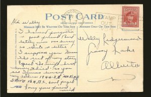 Postmark 1947 Vancouver BC Waterfront at Night Linen  Postcard