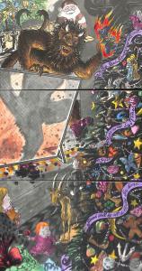 Krampus Christmas 3 Part Early Installment Postcard Set Sandy Waters Artist