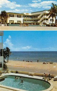 SANDS APARTMENT MOTEL Hollywood Beach, Florida Swimming Pool ca 1960s Postcard