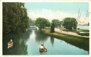 Belle Isle Canal River Detroit Michigan #12665 C-1910 Postcard Phostint 20-7487