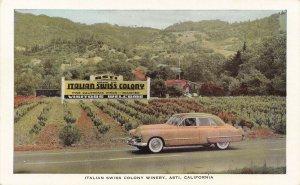 Asti CA Italian Swiss Colony California Wines Old Car Postcard