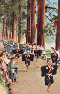 DAIMYO PROCESSION AT HAKONE JAPAN CRYPTOMERIA AVENUE~FEUDAL LORD POSTCARD