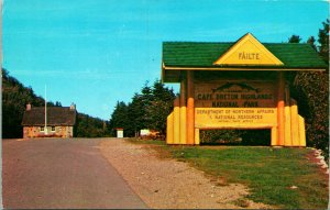 Entrance Cape Breton Highlands National Park Canada Postcard used 1957