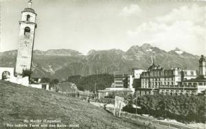 Switzerland, St. Moritz, Der schiede Turm und das Kulm Ho...