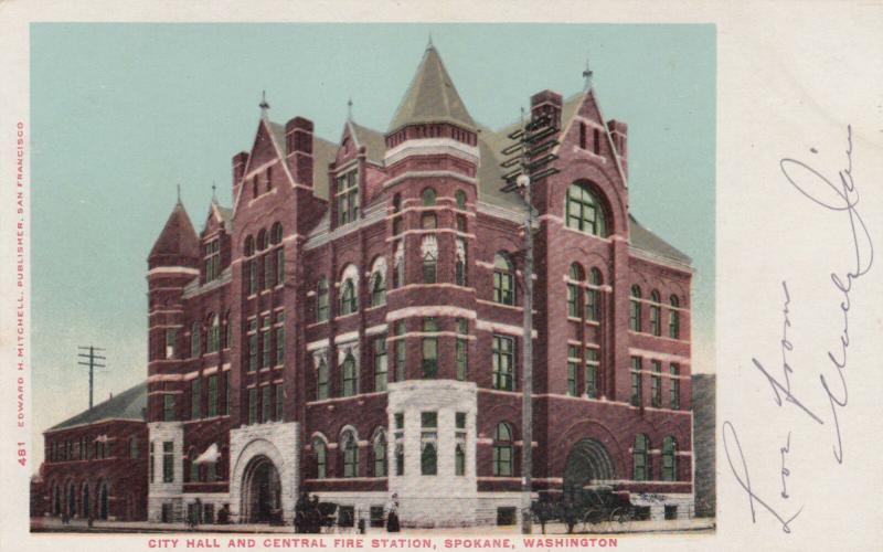 SPOKANE , Washington , 1901-07 ; City Hall and Central Fire Station