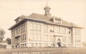 Traer Iowa~Doors Open in Front & On Side of New High School~Cupola RPPC 1914