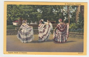 P1991, vintage postcard typhical dance of panama colorful women dresses unused