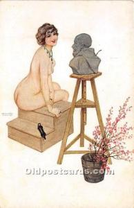 Artist Raphael Kirchner Old Vintage Postcard Marque L-E Le Modele # 17 Unused