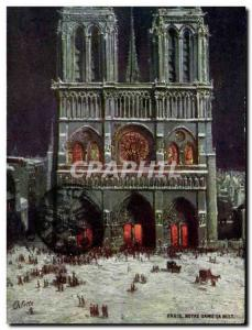Paris Old Postcard Notre Dame at night