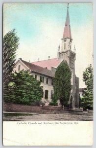 Ste Genevieve Missouri~Roman Catholic Church & Rectory~Steeple~c1910 Postcard