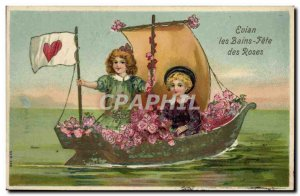 Old Postcard Fantasy Children Boat