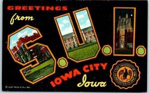 1940s STATE UNIVERSITY OF IOWA S.U.I. Large Letter Postcard Curteich Linen