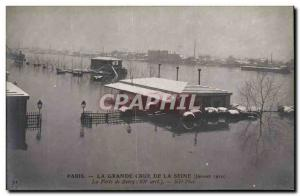 Crue of the Seine Paris Old Postcard Floods The Bercy door