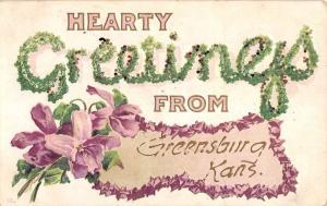 Greensburg Kansas Flower Hearty Greeting Antique Postcard K80535