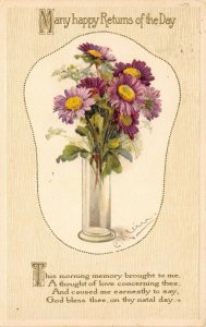 Catherine Klein~Purple Lavender Daisies in Crystal Vase~Gold Leaf Emboss~1908 PC
