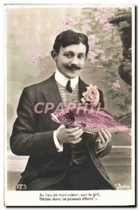 Old Postcard Fancy Man Fish Instead of my heart on the grill