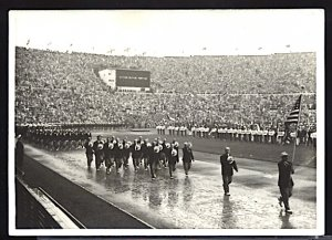 1952 Summer Olympics Helsinki American Team on Opening Day RPPC