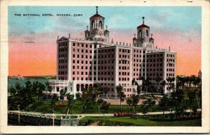 THE NATIONAL HOTEL - HAVANA Habana CUBA Rare VIEW LINEN POSTCARD - POSTED 1937
