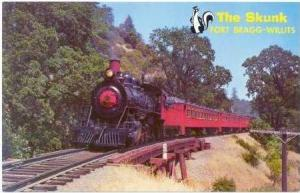 The  SKUNK  Train, Fort Bragg-Willits, California, 40-60s