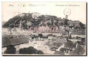 Old Postcard Panorama word Graz Schlossberg