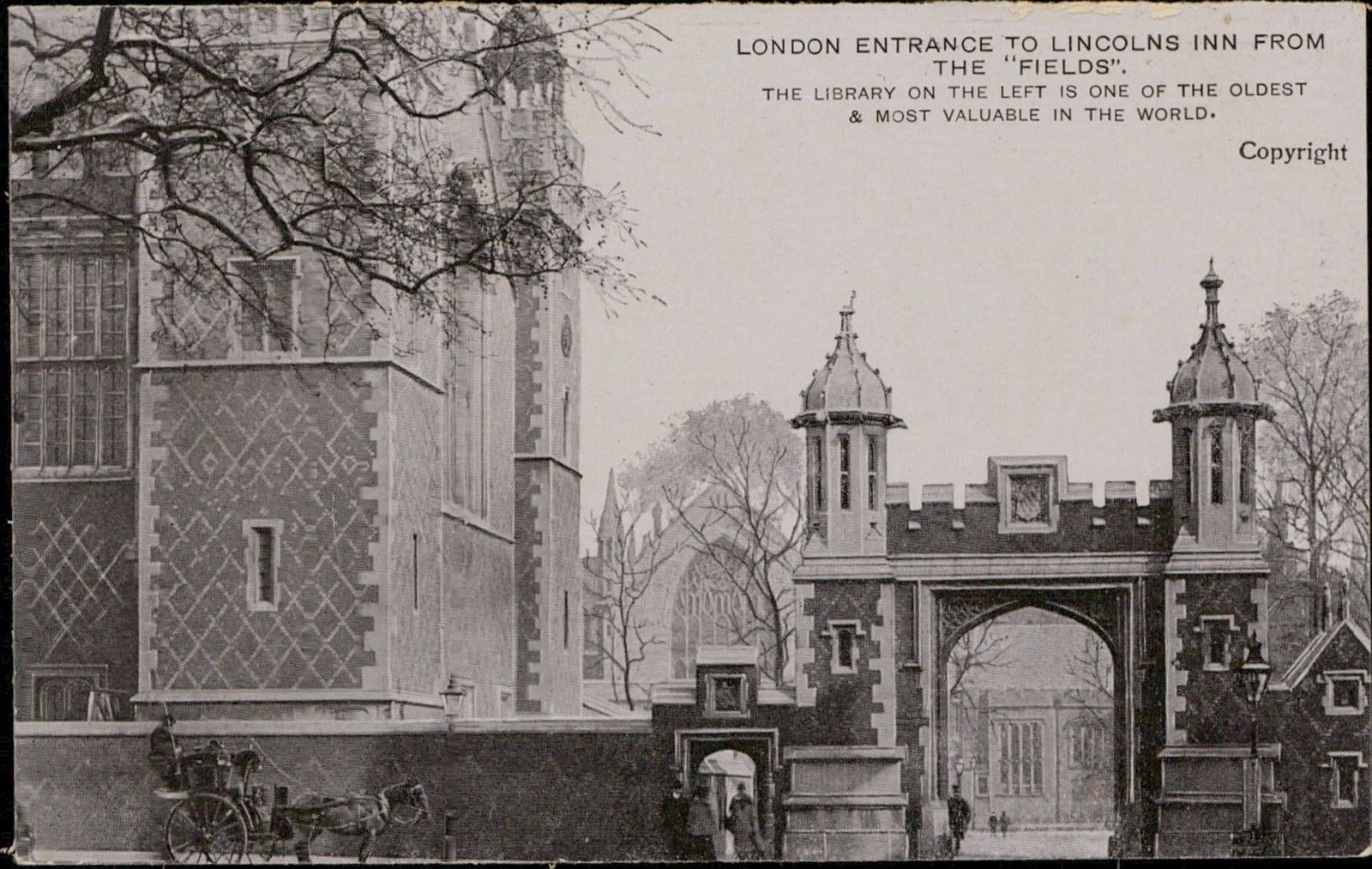 London Entrance To Lincolns Inn From The Fields HipPostcard