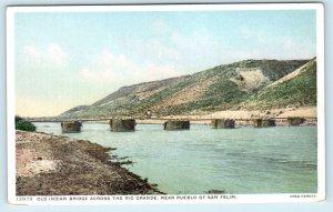 SAN FELIPE PUEBLO, NM~ Old INDIAN BRIDGE c1910s Fred Harvey Postcard