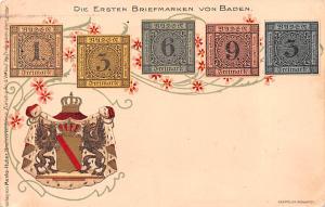 Coin Postcard, Old Vintage Antique Die Ersten Briefmarken Von Baden