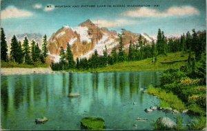 Vtg Cartolina Montante Shuksan E Immagine Lago IN Scena Washington