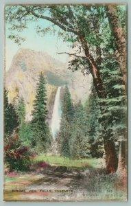 Yosemite California~Bridal Veil Falls~Country Path~Mountain~Trees~Postcard~c1910