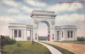BUFFALO NEW YORK ENTRANCE FOREST LAWN CEMETERY POSTCARD 1915