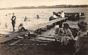 G33/ Lake View Iowa RPPC Postcard 1910 Lakeview Boats Dock Swimmers
