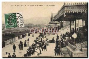 Old Postcard Horse Riding Equestrian Marseille Racecourse grandstand