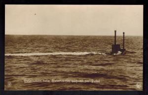 Mint WW 1 Germany RPPC Postcard U Boat Submarine Periscope Underwater Running