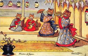 Louis Wain Signed Cats  Flowers of Japan Postcard