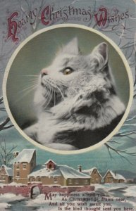 CHRISTMAS, 1900-10s; Profile of Cat, Winter Scene, Poem