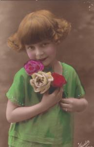 RP: Girl holding Roses , 1900-10s