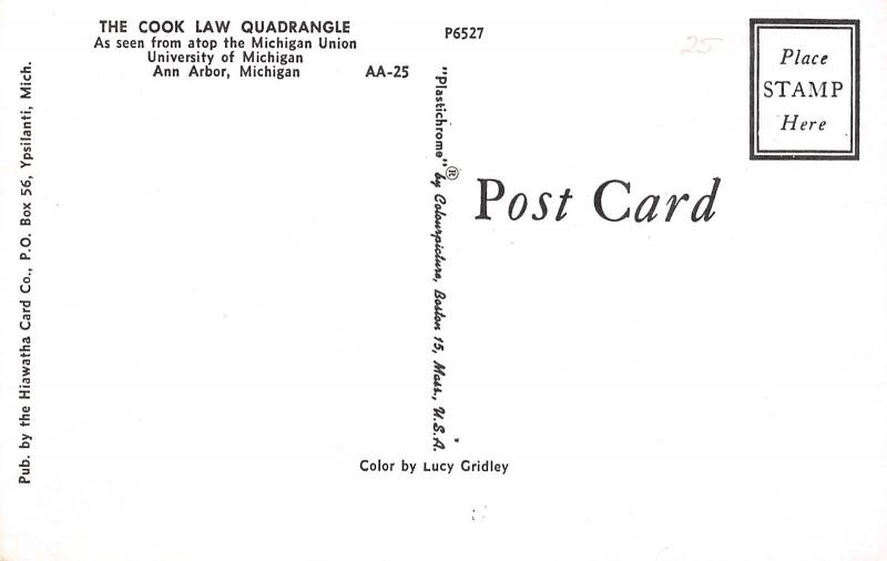 Ann Arbor University of Michigan~Cook Law Quadrangle in Autumn Red Dress~1950s