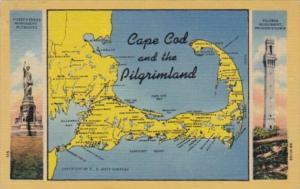 Massachusetts Cape Cod and The Pilgrimland Map 1952 Curteich