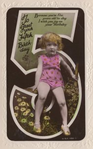 Crazy 5th Birthday Child Holding Stick Of Wood Real Photo Postcard