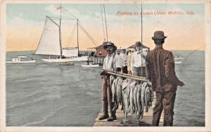 MOBILE ALABAMA-BLACK MEN FISHING AT CODEN POSTCARD