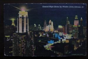 General Night Scene by Wacker Drive, Chicago Illinois, Colourpicture Publication