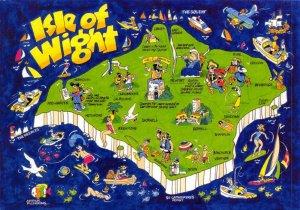 NEW Isle of Wight Art Map Postcard, by Arthur Pickering CG3