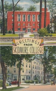 Saratoga Springs NY, New York - Greetings from Skidmore College - Linen