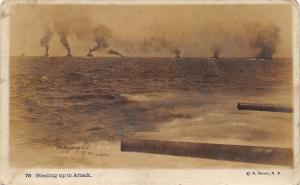 WWI Battleships~Stealing Up to Attack~Long Guns~N Moser New York~1917 RPPC