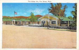 Ten Sleep Wyoming Inn Street View Linen Antique Postcard K10432