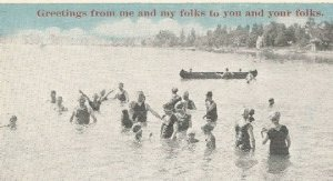 Old Fashioned Dip in the Pond Fun Vintage Postcard Featuring a Fun Photograph