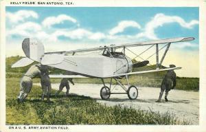 Vintage Postcard; Biplane at Kelly US Army Aviation Field, San Antonio TX posted